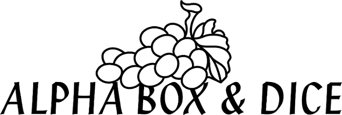 Alpha box and dice logo
